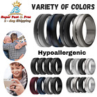 Mens Elegant Silicone Ring Affordable Hypoallergenic Rubber Wedding Bands 4 Pack