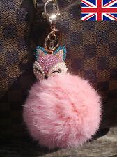 Pink Real Rabbit Fur Ball Pompom Fox Head  Bag Charm Keyring Accessory UK Seller
