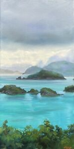 "Abbott Oil Stretched Canvas 20""x10"" Water Lemon Cay, Maho Overlook St John USVI"