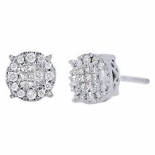 14K Oro Bianco Diamante Princess Soleil Collezione Cerchio Orecchini a Lobo 0.25