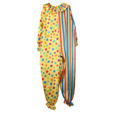 Funny Circus Clown Costume Jumpsuit Stripes Spotted Adult Fancy Dress