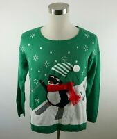 United States Sweaters Womens LS Green Skiing Penguin Ugly Christmas Sweater XL