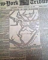 BATTLE OF FORT McALLISTER Georgia Ironclads Naval MAP 1863 Civil War Newspaper