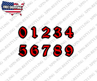 Racing Numbers Decal Sticker | Motorcycle Dirt Bike Plate Number BMX Old English