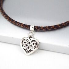 Silver Aloy Celtic Knot Love Heart Pendant Brown Braided Leather Choker Necklace