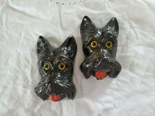 Pair of Vintage Chalkware Scottie Dog Wall Plaques,Scottish Terrier Collectibles