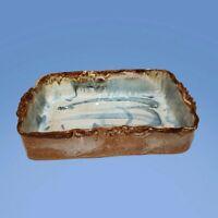 STUDIO POTTERY 10 x 7 BLUE ABSTRACT DRIP GLAZE CASSEROLE  DISH ART DECO MCM