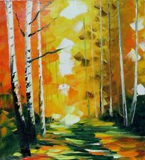 Leonid Afremov - BIRCHES - Original Oil Painting on Canvas Forest Woods Trees
