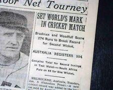 Don Bradman Australian Cricketer Batsman Breaks Record 2nd Wicket 1932 Newspaper