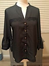 Karl Lagerfeld black blouse with lace trim size S fits 10 - 12 bnwt