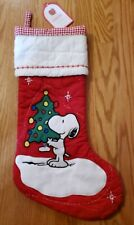 Pottery Barn Kids Peanuts Snoopy Quilted Red Christmas Tree Stocking NEW