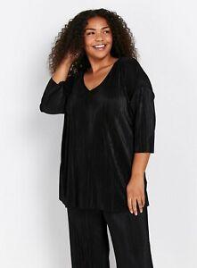 Evans Womens Black Pleated Three Quarters Sleeve Top Loose V-Neck Shirt Blouse