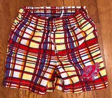 J.Khaki toddler Boys Lined Swim Trunks Red Yellow Blue Plaid Crab Size 3T