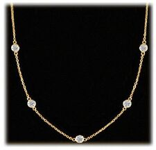 1.34 carat, Round Diamond By The Yard Necklace 18k Yellow Gold, 7 x 0.19 ct each