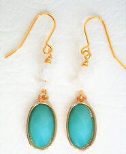 Turquoise green opaque glass and moonstone chip drop earrings Approx. 5cm