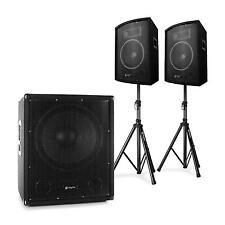 Impianto Audio Coppia Casse Stativi Set Professionale Subwoofer Microfono 2.1 PA