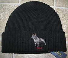03e94f8626b Men s POLO-RALPH LAUREN Black Knit FRENCH BULLDOG Cuffed Skull  Beanie Hat