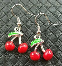 CUTE CHERRY EARRINGS ROCKABILLY PIN UP SWING VINTAGE DERBY 50'S KITSCH RETRO