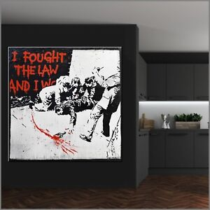 Funky Graffiti Huge Banksy Fight Law Street Art 120cm x 120cm Textured Painting