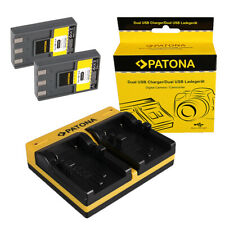 2x Batteria Patona + caricabatteria USB dual per Canon Digital Ixus VII,V,V2,V3
