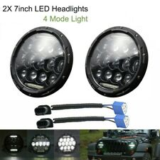 2X 7'' LED DOT Bulb Hi-Lo Beam Headlight For Jeep Wrangler Hummer H1 Land Rover