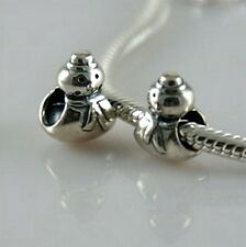 SNOWMAN - Winter- Christmas- Snow- Solid 925 sterling silver European charm bead