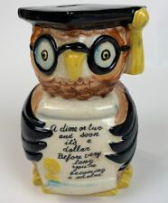 Vtg Owl Piggy Bank Made in Japan Ceramic Cap and Gown Fred Roberts Co.
