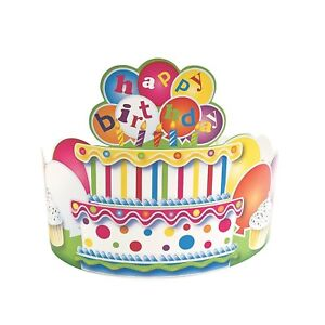 2 x Birthday Crown Happy Birthday Party Favours Hats Crowns Tiaras Decoration