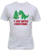T-REX HATES CHRISTMAS T-SHIRT - WHITE ORGANIC - FUNNY XMAS TOP GIFT OFFICE PARTY