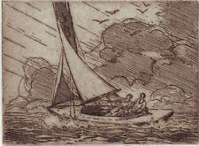 John C. Vondrous, 3sailors Etchings:1 sailor 1948 @ 2Yachts of 1959@ autograph