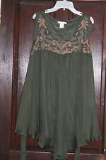 GOLD HAWK green 100% silk with Embroidiery tunic top size L large RRP £130