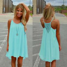 Women Sexy Summer Casual Sleeveless Evening Party Beach Mini Dress Short M