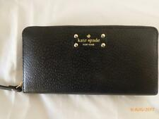 Kate Spade Wellesley Black Leather Zip Continental Clutch Wallet  8 x 4.50 NWT