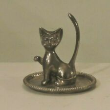 VINTAGE SILVER PLATED RING HOLDER TRAY FIGURINE OF CAT LONG TAIL HONG KONG