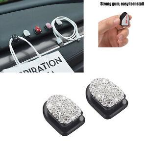 2 Pack Bling Crystals Mini Car Hooks Durable Wall Hooks Keys Earphone White
