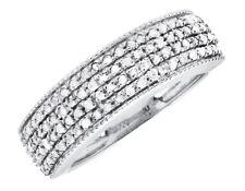 White Gold Finish Milgrain 7MM Wide Four Row Diamond Wedding Band Ring 0.50ct.