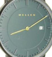 Meller Date Thin Sapphire Crystal WR3atm Brown Leather Band New Batt Men Watch