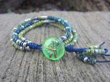 Blue Green Turquoise Czech 4 Strand Wrap Blue Leather Bracelet w/ Dragonfly