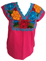 Floral Mexican Blouse - Embroidered - Made in Mexico - Handmade - Cotton - Pink