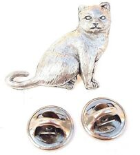 British Shorthair Cat Handcrafted in Solid Pewter in Uk Lapel Pin Badge