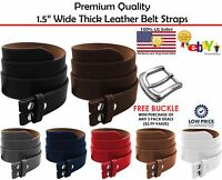 BLACK BROWN STITCH LEATHER BELT STRAP SNAP ON NO BUCKLE SOLID UNISEX MENS WOMENS