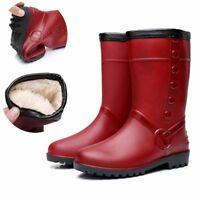Winter Women's Outdoor Mid Calf Rubber Rain Boot Fur Lining Waterproof Flat Shoe