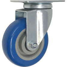 4 Inch Caster Wheels Swivel Plate On BLUE Polyurethane Wheels PU