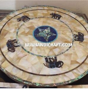 2' elephant malachite round White Marble dining Coffee Table top inlay
