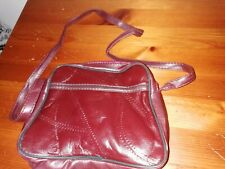 "SMALL BURGUNDY ""TITCH"" SHOULDER BAG, TOP ZIP AND ZIP SIDE POCKET - MOBILE/PURSE"