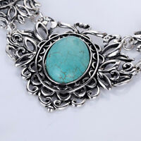 HK- Bohemian Women's Tibetan Oval Turquoise Bib Collar Necklace Earrings Jewelry
