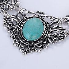 Bohemian Women's Tibetan Oval Turquoise Bib Collar Necklace Earrings Jewelry Set
