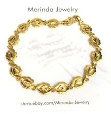 24K Solid Yellow Gold Cute Heart Shiny Bracelet. 6.75 Inches, 14.16 Grams