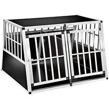 XXL Alu Doppel Hundebox mit Trennwand Transportbox Hundetransportbox trapezfo