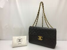 Auth Chanel Maxi Jumbo 34 Matelasse XL Lambskin with Chain Black 8K120300n